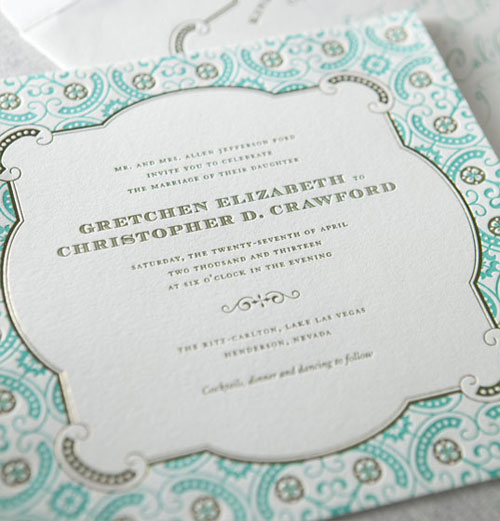 Larkspur Letterpress Wedding Invitation