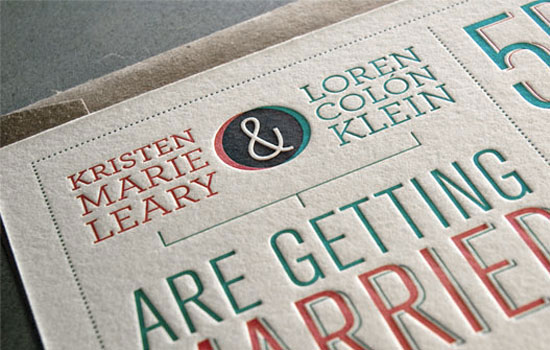 Letterpress Mid Century Wedding Invitations