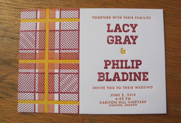Plaid Letterpress Wedding Invitations