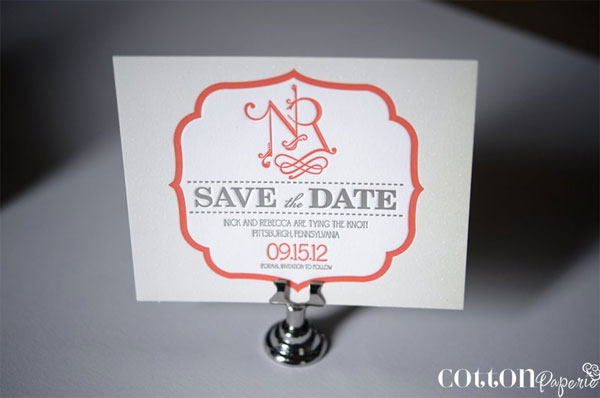 Whimsical Monogram Save the Dates