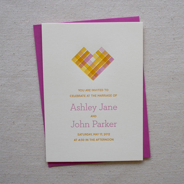 Pixel Heart Letterpress Wedding Invitations