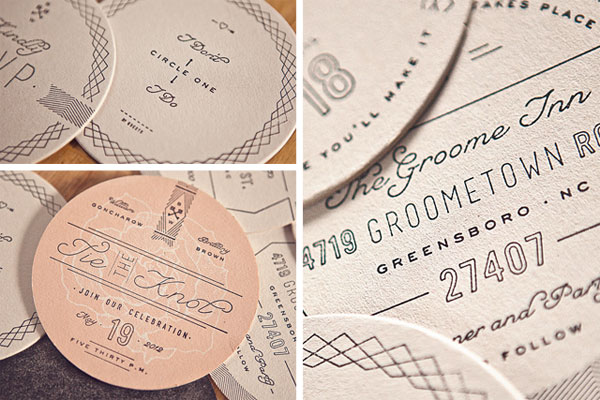 Hand Stamped Coaster Wedding Invitations