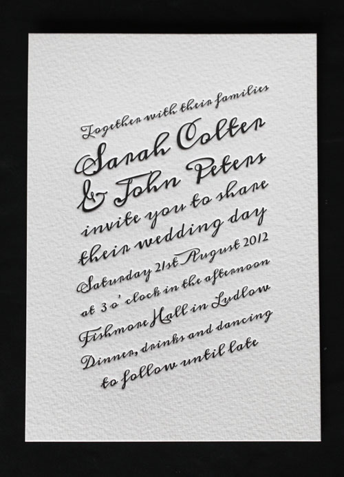 Inky Letterpress Wedding Invitations The classic black and white invitation