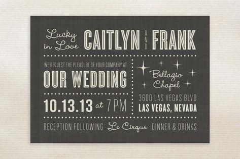 Vegas Style Wedding Invitations Lucky In Love