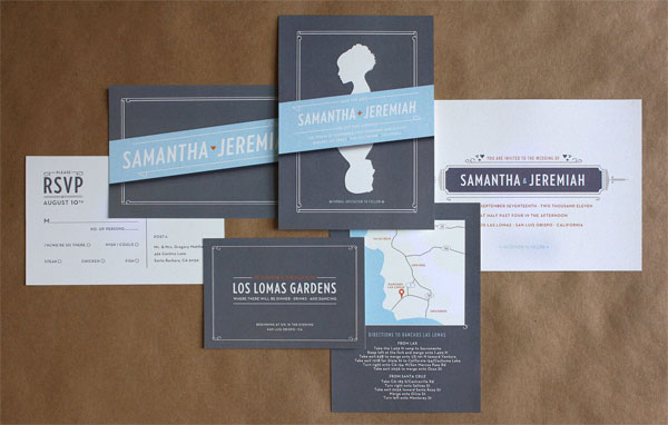 mid-century modern wedding invitations by bow & arrow, Wedding invitations