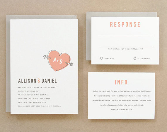 Heart Printable Wedding Invitations