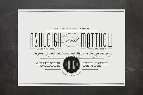 Black and white typographic wedding invitations twine wedding invitations stopboris Images