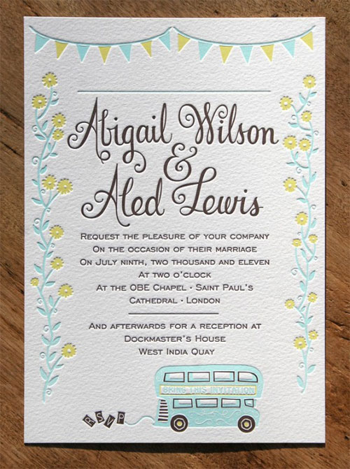 Whimsical Teal & Yellow Letterpress Wedding Invites