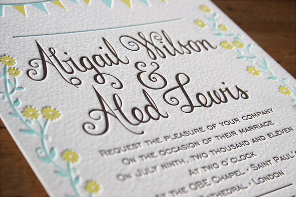 Whimsical Letterpress Wedding Invitations