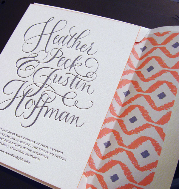 Calligraphy Ikat Wedding Invitations