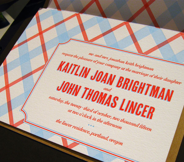 Plaid Wedding Invites