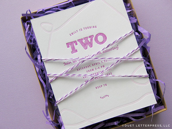 Purple Crayon Themed Birthday Party Invites