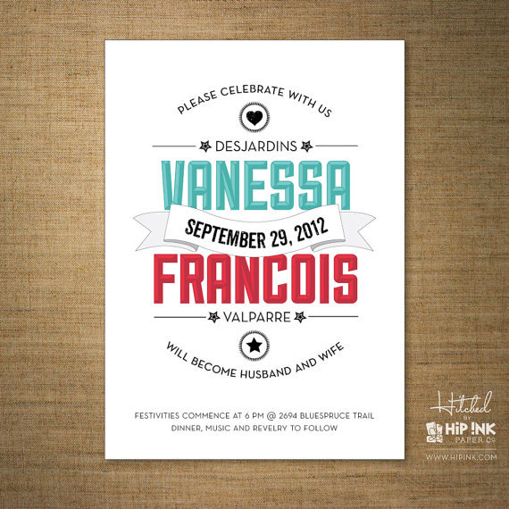 Hitched Wedding Invitations: Modern Wedding Invitations By Hip Ink