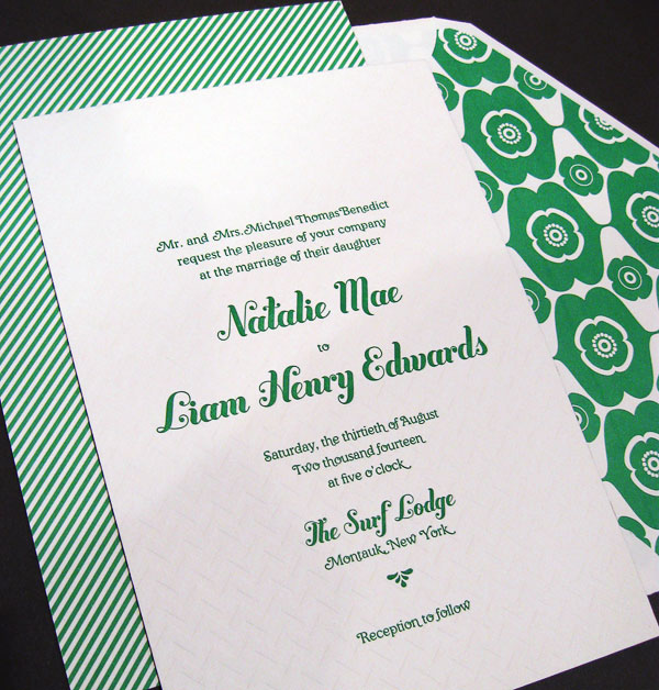 Kelly Green Letterpress Wedding Invitations