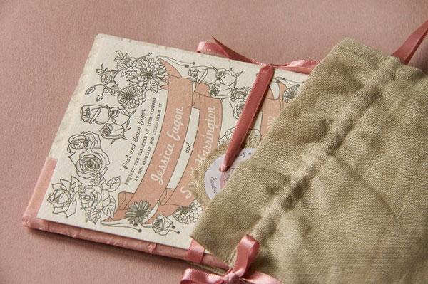 Vintage Floral Booklet Wedding Invitations