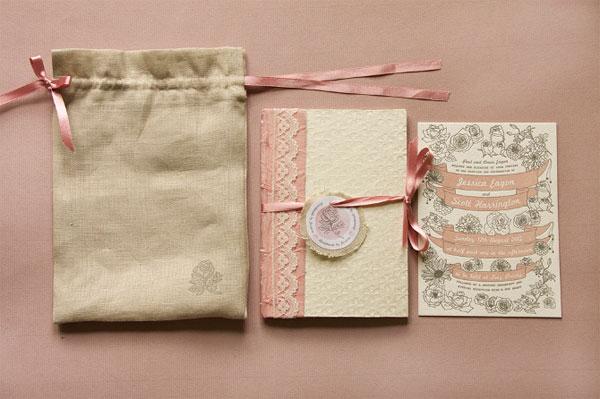 Floral Letterpress Wedding Invites