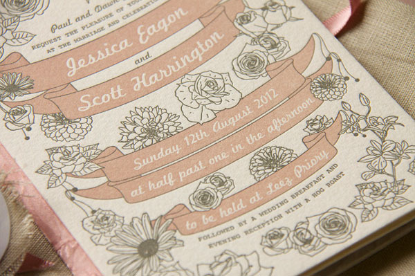 Floral Banner Wedding Invites