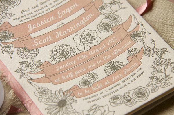 Floral Banner Wedding Invites