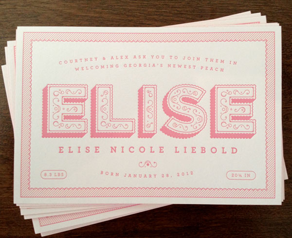 Cute Pink Letterpress birth Announcements