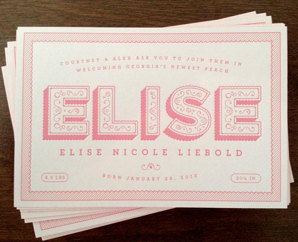 Cute Pink Letterpress birth Announcements