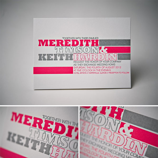 Modern Typography Letterpress Wedding Invitations Invitation Crush