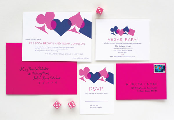 Vegas Wedding Invitations by Palm Papers