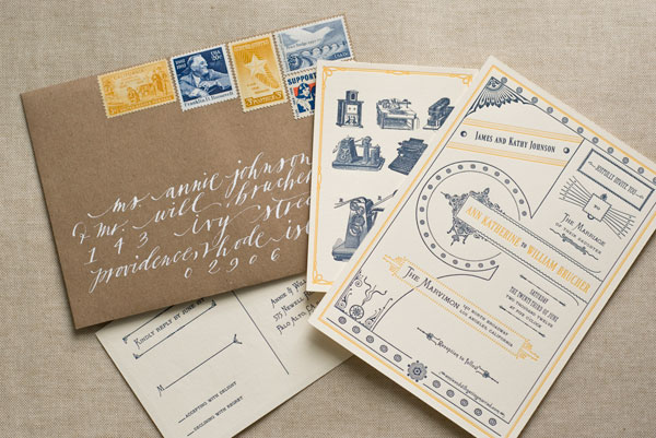 Vintage-Inspired Letterpress Wedding Invitations
