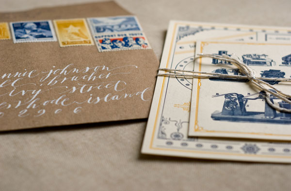 Gold & Navy Blue Letterpress Invitations