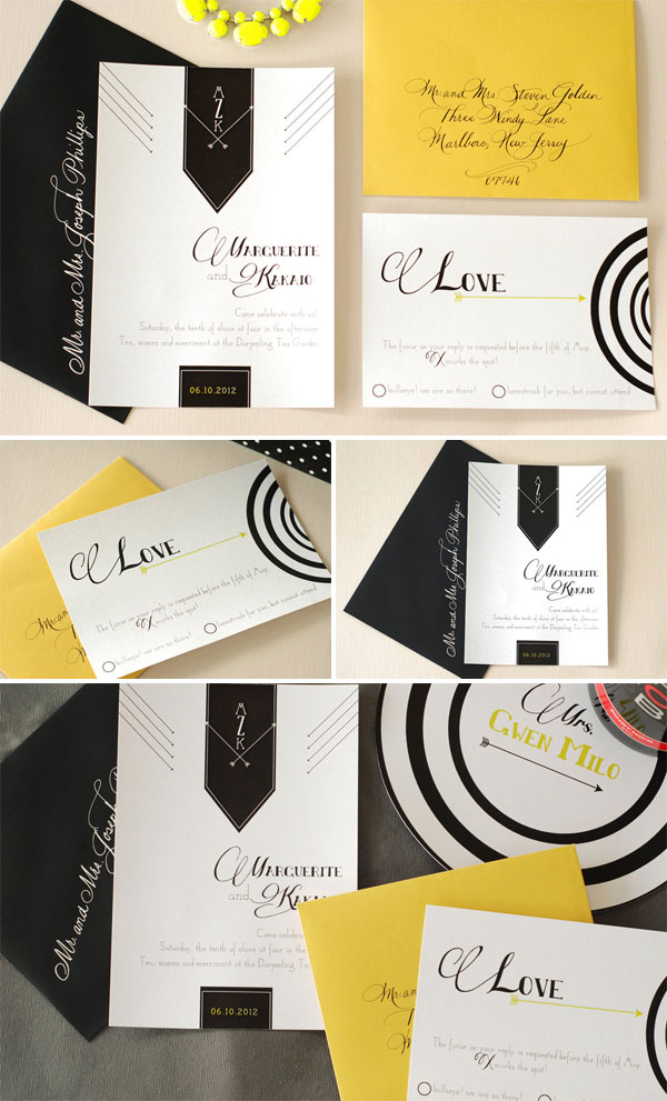 Classic Black + White Wedding Invitations