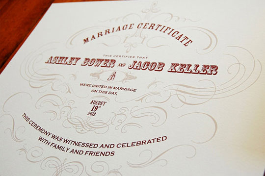 Vintage-Inspired Marriage Certificate