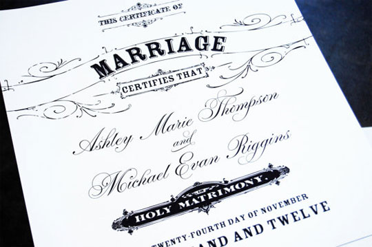 Vintage-Inspired Wedding Certificate