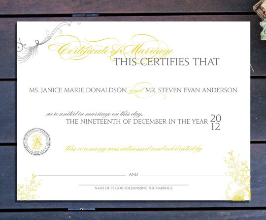 Elegant Custom Marriage Certificate