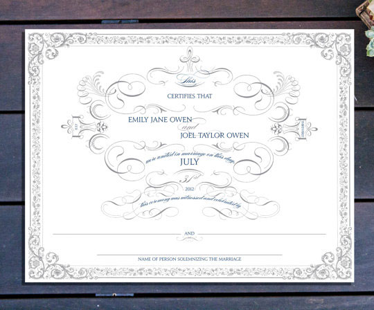 Ornate Marriage Certificate