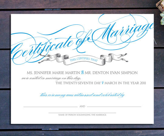 Custom Marriage Certificate