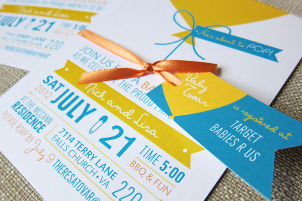 Balloon Themed Baby Shower Invites