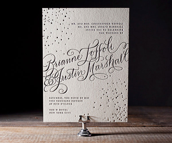 Gilded Romance Letterpress Wedding Invitations