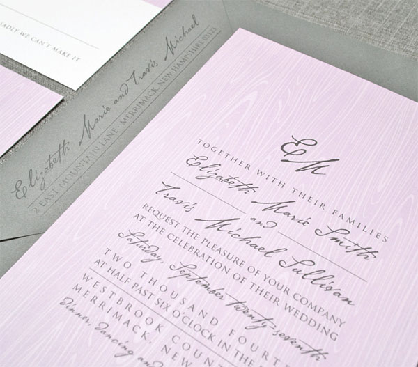 Purple Woodgrain Wedding Invitations