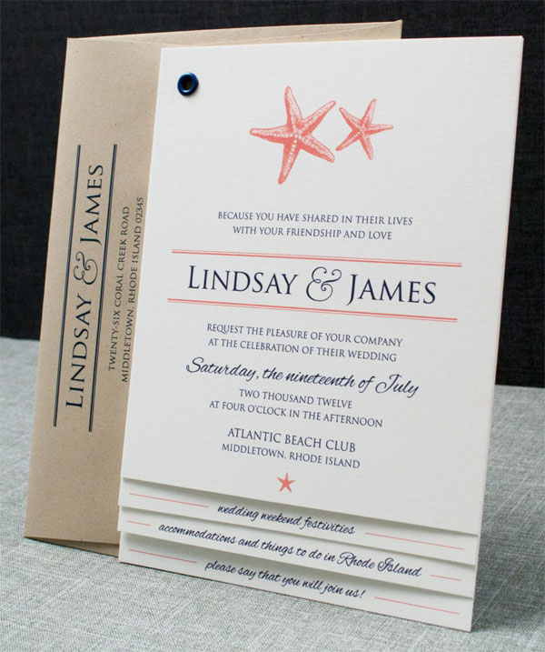 Starfish Booklet Wedding Invitations