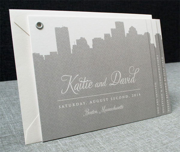 Boston City Skyline Booklet Wedding Invitations