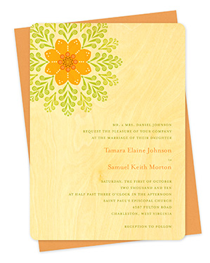 Deco Rosette Wood Wedding Invitations