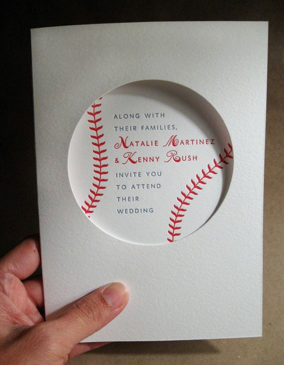 Elegant Baseball Wedding Invitations