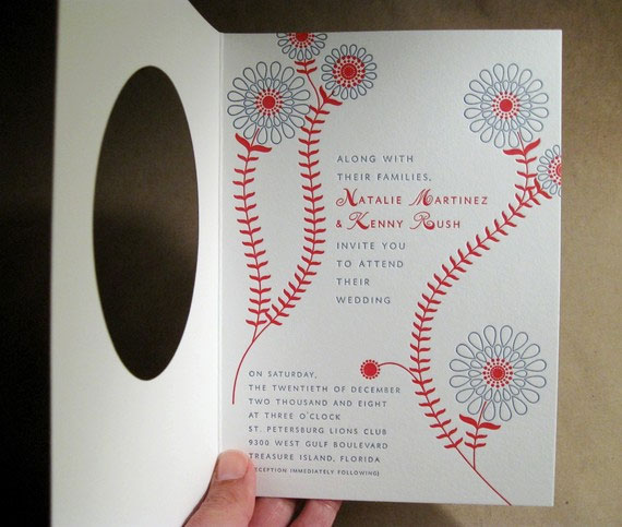 Baseball Letterpress Invitations by Byvik Ink