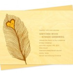 Heart Feather Wood Wedding Invitations
