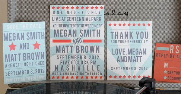 Vintage Poster Inspired Wedding Invitations