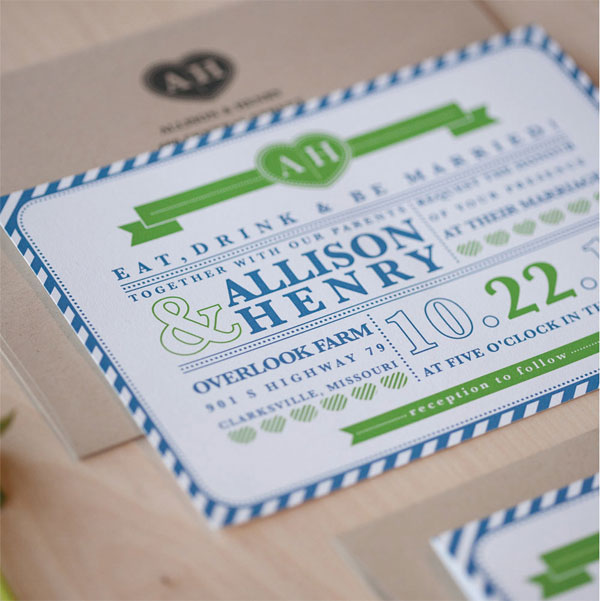 Preppy Stripe Wedding Invites