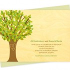 Leafy Tree Wood Wedding Invitations