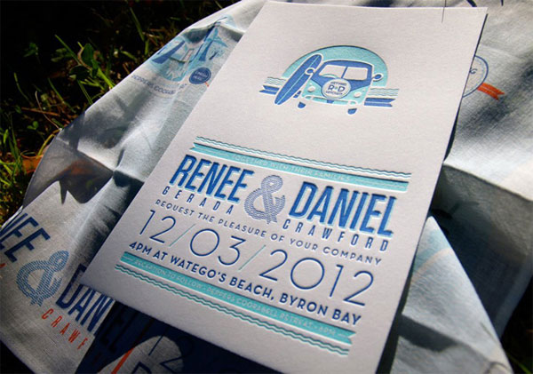 Sun & Surf Letterpress Wedding Invites