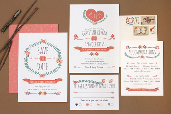 mid century style wedding invitations by love vs design