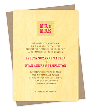 Mr. & Mrs. Wood Wedding Invitations