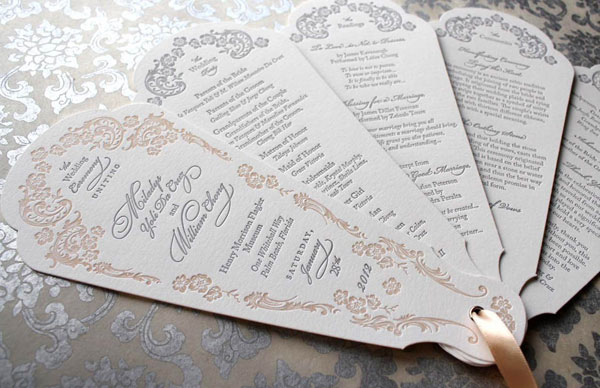 Ornate Letterpress Wedding Program Fans